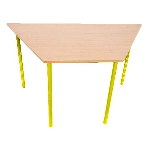 Trapezoidal Primary School Classroom Table Beech/Yellow 1200x600x600x550mm