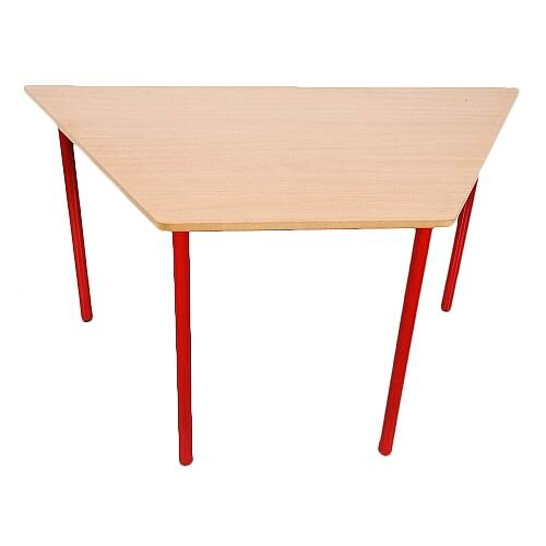 Trapezoidal Primary School Classroom Table Beech/Red 1200x600x600mm