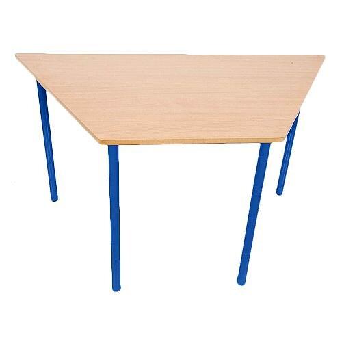 Trapezoidal Primary School Classroom Table Beech/Blue 1200x600x650mm