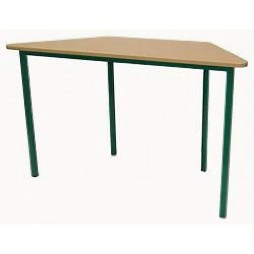 Trapezoidal Primary School Classroom Table Beech/Green 1200x600x700mm