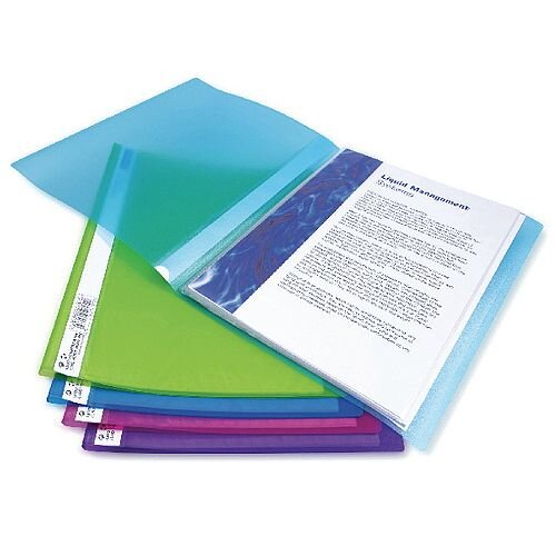 Rapesco A4 Flexi Display Book 20 Pocket Bright Assorted 10pk
