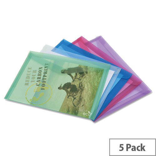 Rapesco ECO Popper Wallet A4 Assorted Pack of 5 1039
