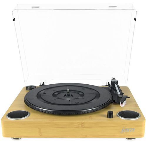 Jam Sound Wooden All-in-One Vinyl Record Player Turntable HX-TTP200WD, AUX in, RCA, Stereo Speakers