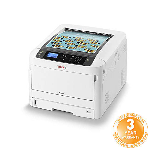 OKI C824DN A3 Colour Laser Printer - Print speed (Colour A4) 26pp/m - USB, Network, Wireless Wi-Fi - 600 x 1,200 Resolution