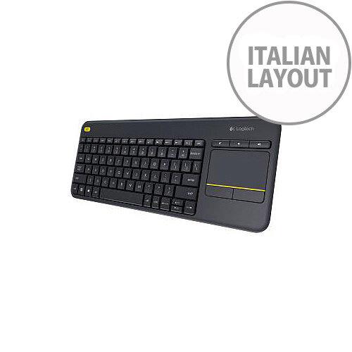 a665e54b9df Logitech K400 Plus Keyboard Wireless Connectivity RF Black USB Interface  Italian TouchPad Compatible with Smart TV