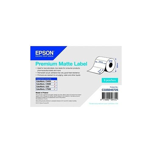 Epson Premium Multipurpose Label Permanent Adhesive 13860 Label s 76mm Width x 51mm Length 2310 / Roll Rectangle 76mm Core White Acrylic