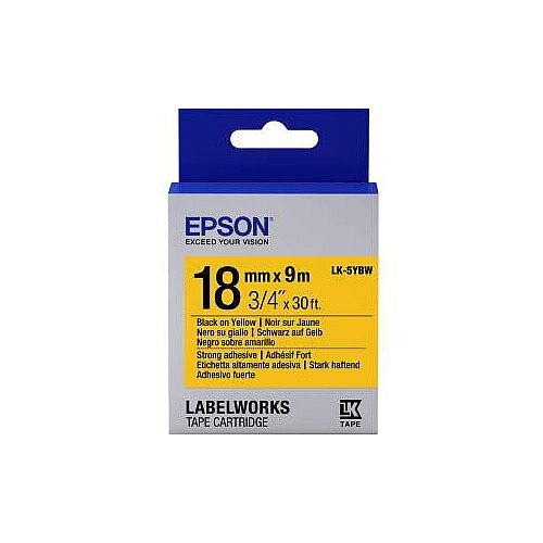 Epson LabelWorks LK-5YBW Label Tape 18mm Width x 9m Length Thermal Transfer Yellow 1 Roll C53S655010
