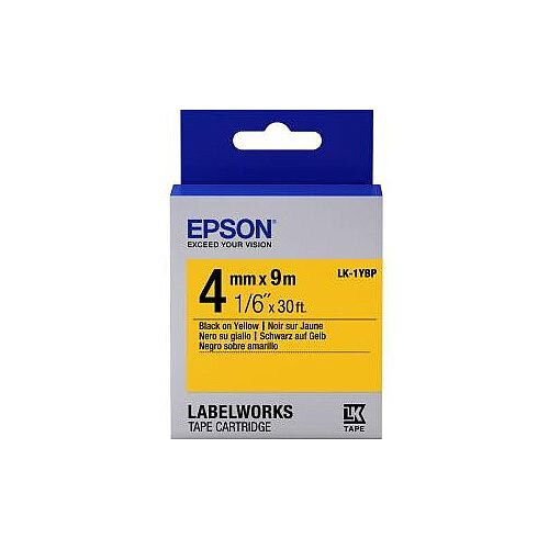 Epson LabelWorks LK-1YBP Label Tape 4mm Width x 9m Length Thermal Transfer Pastel Yellow C53S651002