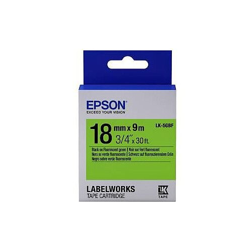 Epson LabelWorks LK-5GBF Label Tape 18mm Width x 9m Length Thermal Transfer Fluorescent Green C53S655005