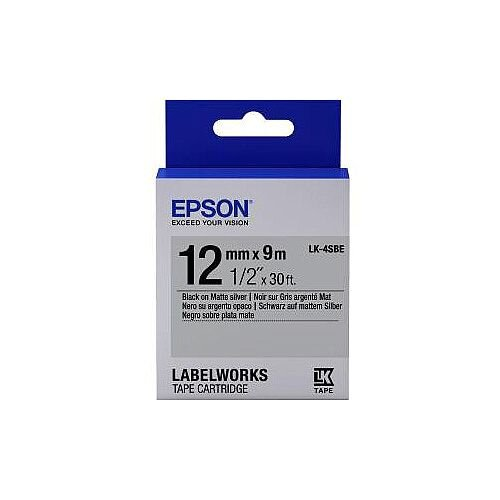 Epson Label Tape 12mm Width x 9m Length Silver C53S654017