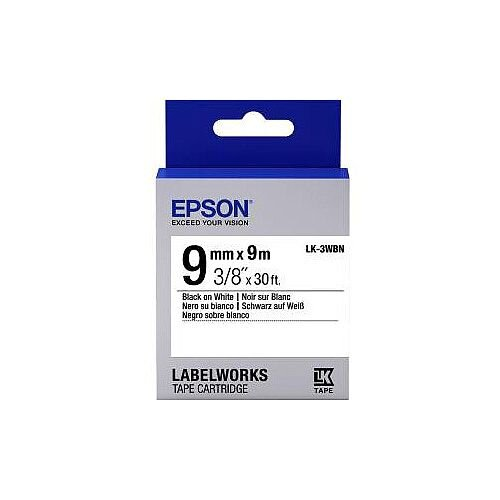 Epson Label Tape 9mm Width x 9m Length White C53S653003