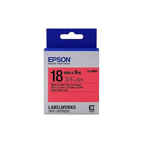 Epson LabelWorks LK-5RBP Label Tape 18mm Width x 9m Length Thermal Transfer Pastel Red C53S655002