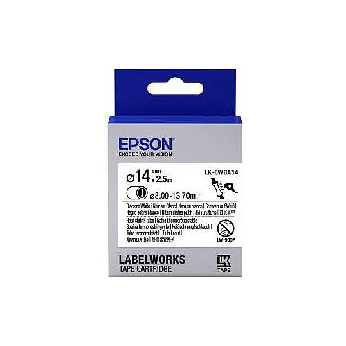 Epson LabelWorks LK-6WBA14 Label Tape 14mm Width x 2500mm Length Thermal Transfer White 1 Roll C53S656903