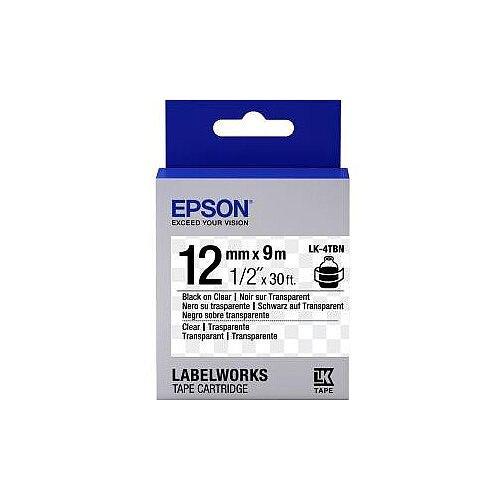 Epson Label Tape 12mm Width x 9m Length Transparent C53S654012 LK-4TBN