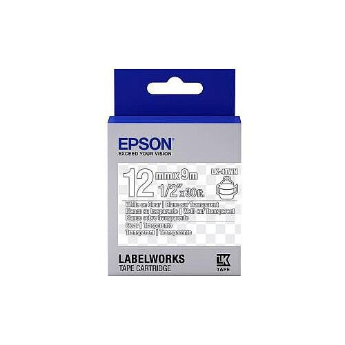 Epson LabelWorks LK-4TWN Label Tape 12mm Width x 9m Length Thermal Transfer Transparent C53S654013