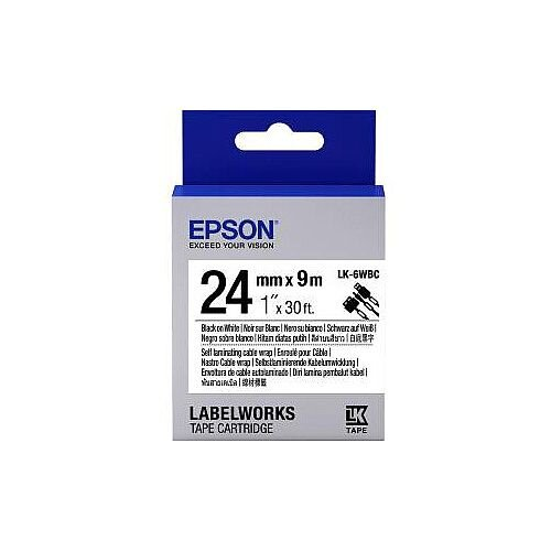 Epson LabelWorks LK-6WBC Wire &Cable Label 24mm Width x 9m Length Thermal Transfer White C53S656901