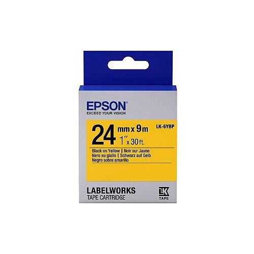 Epson LabelWorks LK-6YBP Label Tape 24mm Width x 9m Length Thermal Transfer Pastel Yellow C53S656005