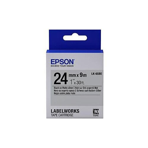 Epson LabelWorks LK-6SBE Label Tape 24mm Width x 9m Length Thermal Transfer Silver C53S656009