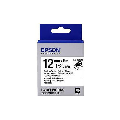 Epson LabelWorks LK-4WBQ Label Tape 12mm Width x 5m Length Thermal Transfer White C53S654024