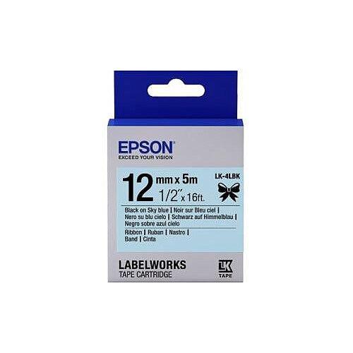 Epson LabelWorks Label Tape 12mm Width x 5m Length Sky Blue Satin C53S654032