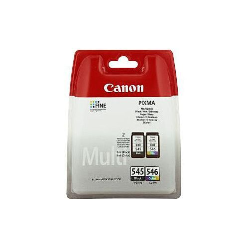Canon PG-545/CL-546 Original Ink Cartridge Multi-pack Cyan Magenta Yellow Black Inkjet 180 Pages 2 Pack