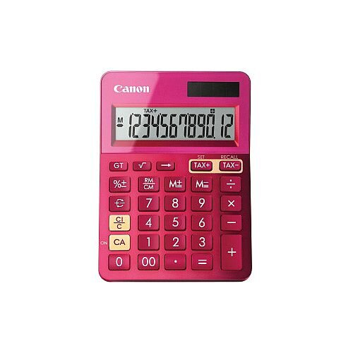 Canon LS-123K Simple Calculator 12 Digits LCD Battery/Solar Powered 25 mm x 104 mm x 145 mm Metallic Pink