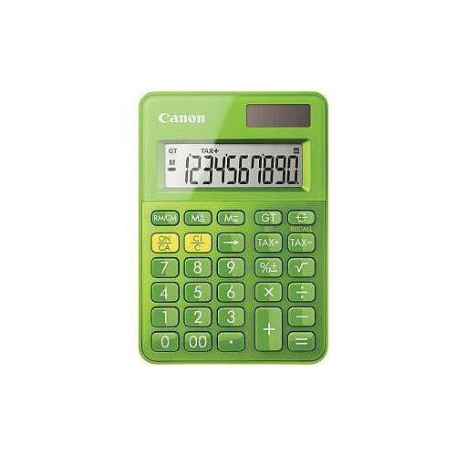 Canon LS-100K Simple Calculator Dual Power Large Display Angled Display Key Rollover Sign Change Auto Power Off Non-slip Rubber Pad Double Zero Battery/Solar Powered 22 mm x 83 mm x 118.5 mm Green