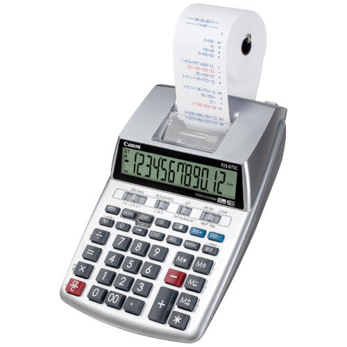 Canon Printing Calculator 2303C001 - LCD, Clock and Calendar Function, 12-Digit, 2-colour Printing - Battery and Mains Powered