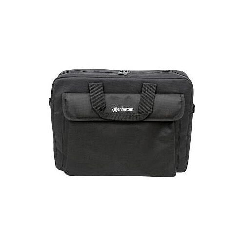 "Manhattan London 438889 Carrying Case Briefcase for 39.6 cm 15.6"" Notebook Black Water Resistant Wear Resistant Polyester Polyvinyl Chloride PVC Handle"