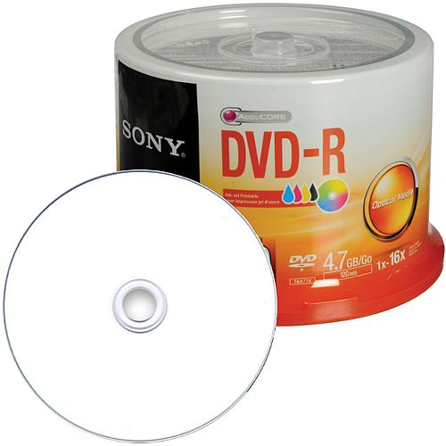 photograph regarding Printable Dvd Disc identify Sony DVD Inkjet Printable Recordable DVD-R 16x 4.70 GB Spindle 120mm (Pack of 50)