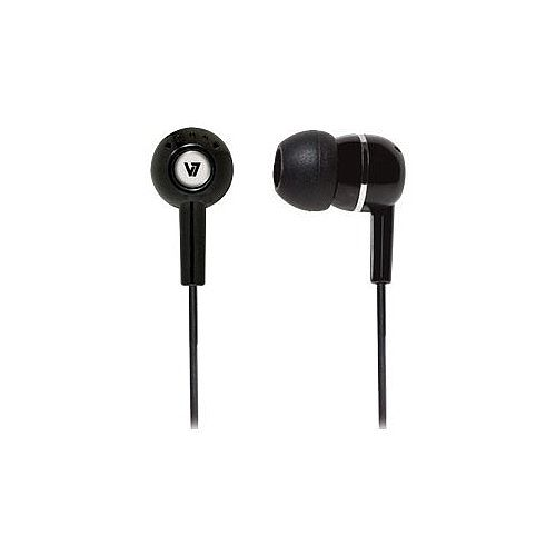 V7 Wired Earbud Stereo Earphone - Black - In-ear - 32 Ohm - 20 Hz to 20 kHz - 1.20 m Cable - Audio Jack 3.5mm