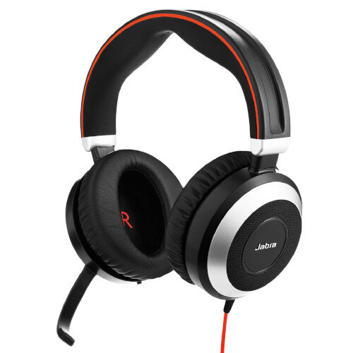 Jabra Evolve 80 UC Stereo Active Noise-Cancelling - Bluetooth, USB 3.0, USB-C, Audio 3.5mm Jack - Black