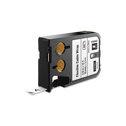 Dymo Label Tape 12 mm Width x 5.50 m Length Black on White Nylon