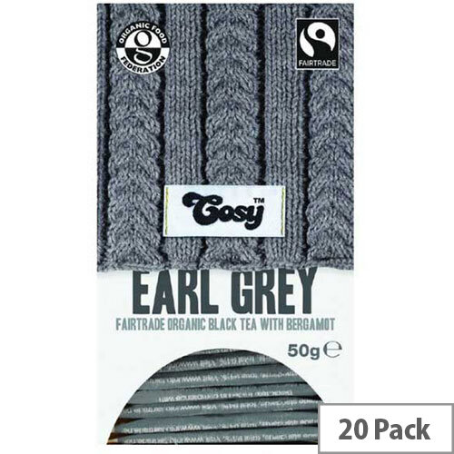 Cosy Earl Grey Organic Tea 20 Individually Foil Wrapped Tea Bags - 20 Bags Per Pack