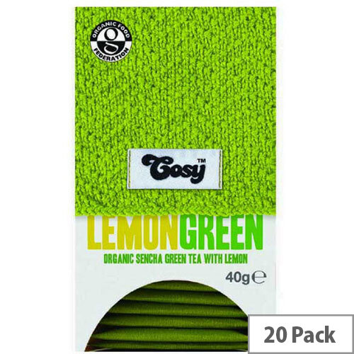 Cosy Lemon Green Organic Tea 20 Individually Foil Wrapped Tea Bags - 20 Bags Per Pack
