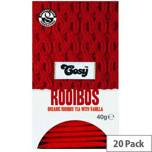 Cosy Rooibus &Vanilla Organic Tea Individually Foil Wrapped Tea Bags - 20 Bags Per Pack