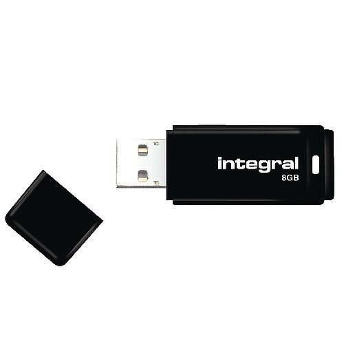 Integral Black USB 2.0 Memory Stick 8GB