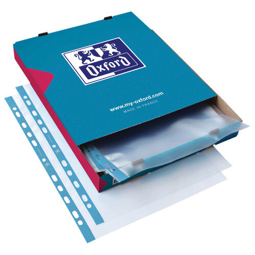 Oxford Punched Pocket 75micron A4 Blue/Clear Pack of 100 400002150