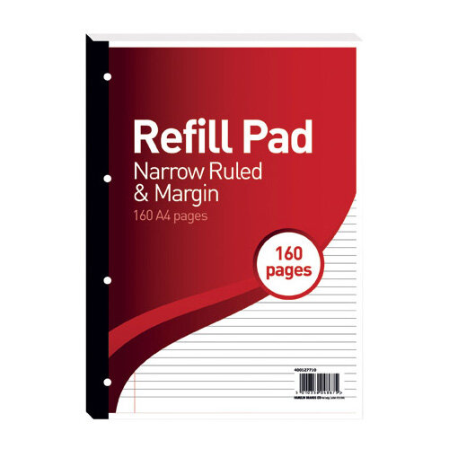 Hamelin 6mm Ruled/Margin Refill Pad A4 80 Sheet Pack of 5 400127710