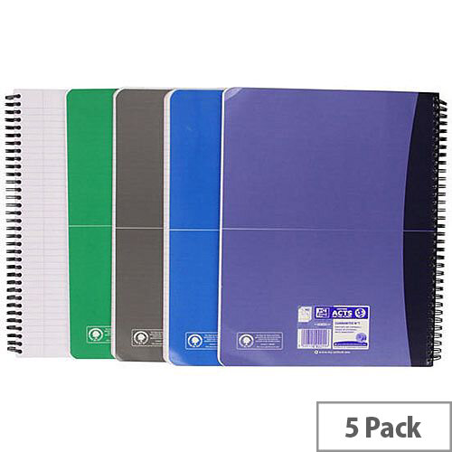 Oxford Office Wirebound Notebook Soft Cover A4 Assorted Pack of 5