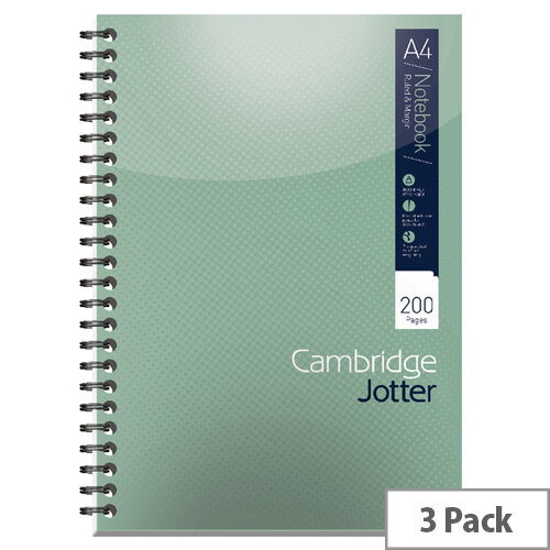 A4 Notebook 200 Page Wirebound Feint &Margin Ref 400039062 Cambridge [Pack 3]