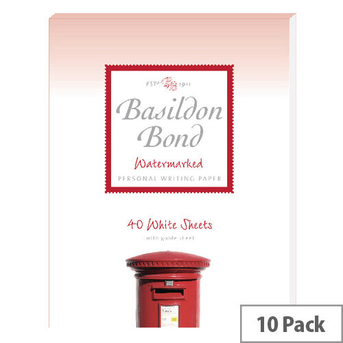 Basildon Bond White Writing Pad 178 X 229mm 40 Sheets Pack of 10 100103860