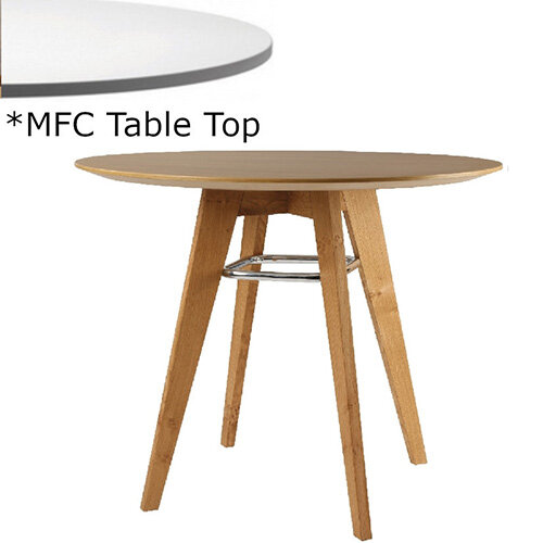 Frovi JIG Round Canteen Table With Natural Oak Chrome/Painted Ring Frame &MFC Top Dia1000xH730mm - Minimalist Design MFC Melamine Surface