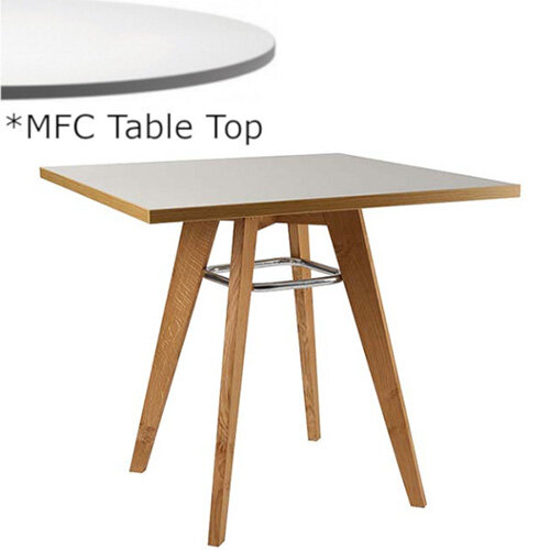 Frovi JIG Square Canteen Table With Natural Oak Chrome/Painted Ring Frame &MFC Top W800xD800xH730mm - Minimalist Design MFC Melamine Surface