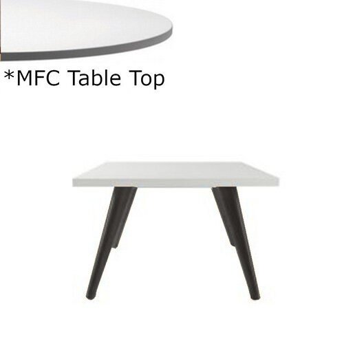 Frovi JIG Square Coffee Table With Black Oak Frame &MFC Top W600xD600xH420mm - Minimalist Design MFC Melamine Surface