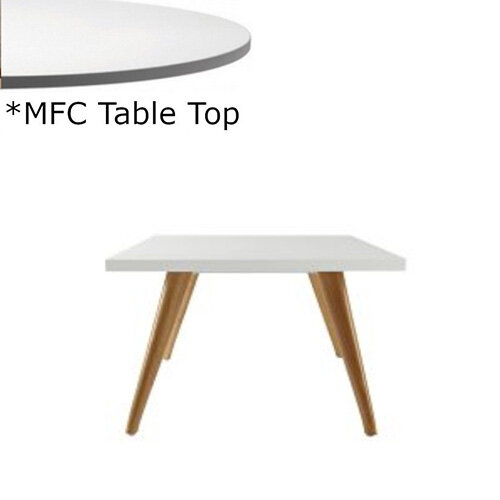 Frovi JIG Square Coffee Table With Natural Oak Frame &MFC Top W600xD600xH420mm - Minimalist Design MFC Melamine Surface