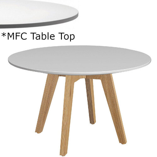 Frovi JIG Round Coffee Table With Natural Oak Frame &MFC Top Dia600xH420mm - Minimalist Design MFC Melamine Surface