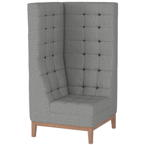 Frovi JIG MODULAR HIGH Seating Corner Unit With Natural Oak Frame H1470xW760xD760mm 430mm Seat Height - Fabric Band F