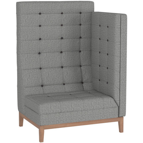 Frovi JIG MODULAR HIGH Seating Left End Unit With Natural Oak Frame H1470xW1040xD760mm 430mm Seat Height - Fabric Band D