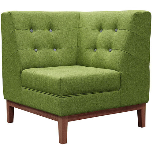 Frovi JIG MODULAR LOW Seating Corner Unit With Stained Walnut Frame H830xW760xD760mm 430mm Seat Height - Fabric Band F
